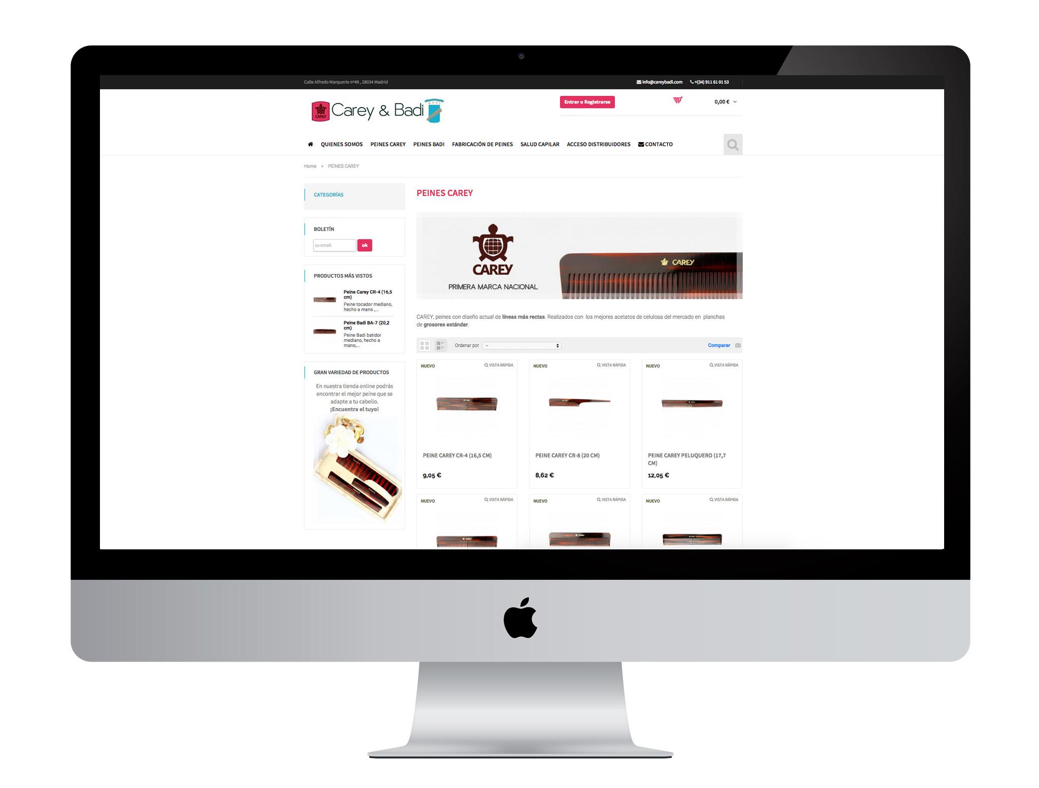 Realización de diseño web de tienda online de peines CareyBadi.es. SoftDream, especialistas en diseño web, diseño gráfico, tiendas online, community manager, posicionamiento seo y sem en Alcorcón y Madrid.